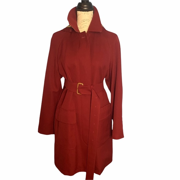 Burberry red trenchcoat with hood